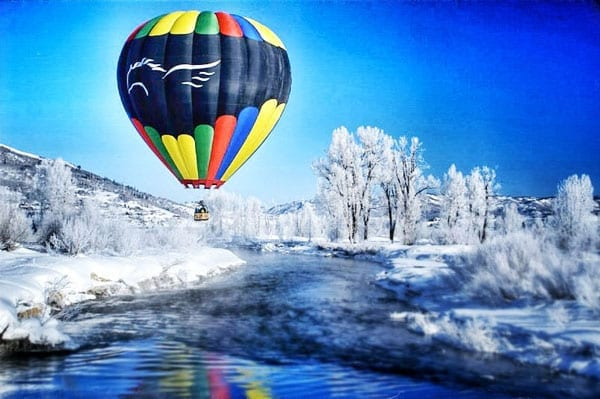 The Pegasus Balloon over the Yampa River in Winter