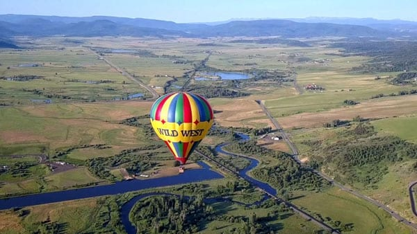 The Wild West Balloon with the Yampa Valley in the background