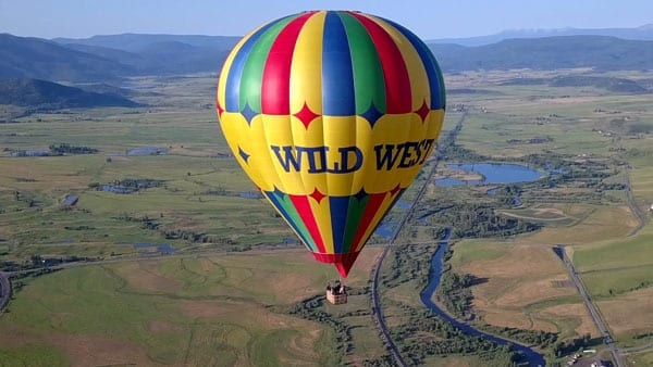 Close up of the Wild West Balloon above Steamboat Springs